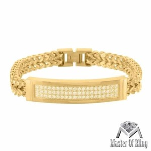 Mens Gold Tone Franco Chain Bracelet Iced Out Id Link