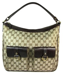 Gucci Gg Leather Logo Beige Brown Tote