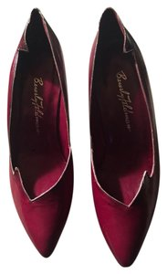 Beverly Feldman Cranberry leather with Silver trim Pumps