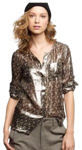 J.Crew Collection Leopard Print Top Silver/Gray