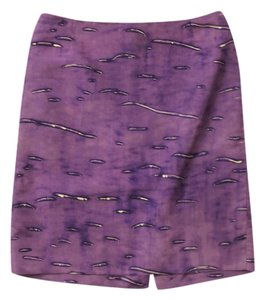 Prada Pencil Wiggle Silk Print Skirt Purple