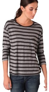 Vince Striped Tee 3/4 Sleeve T Shirt Black/Gray