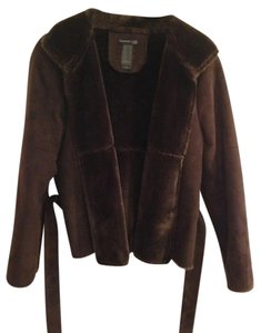 Kenneth Cole Suede Faux Fur brown Jacket