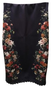 H&M Floral Stretch Elastic Waistband Skirt Navy/multi