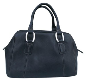 Fossil Pebble Leather Satchel in black