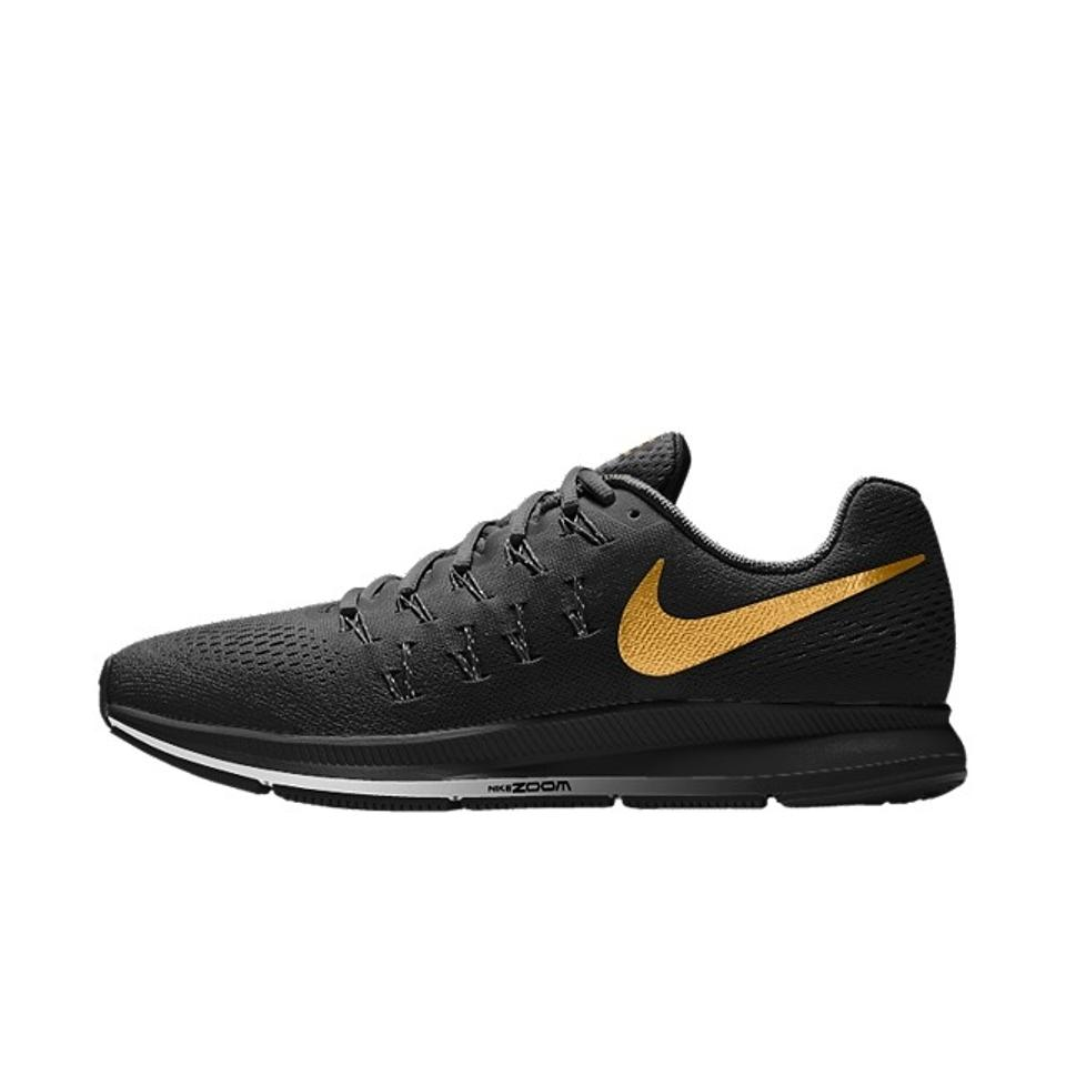 853d22414f1d Nike All Black with Gold Swoosh Zoom Pegasus Shield 33 Sneakers Size ...