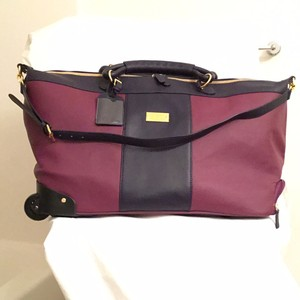 Joy & IMAN Wheeled Duffle Leather Luggage Travel Duffle Navy/Purple Travel Bag