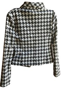 Anne Klein Houndtooth Pattern Black White Blazer