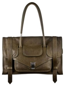 Proenza Schouler Ska Keep All Small Green Leather Work School Ps1 Tote in Military