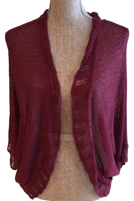 Preload https://item1.tradesy.com/images/plum-lacey-knit-small-cardigan-size-6-s-2034770-0-0.jpg?width=400&height=650