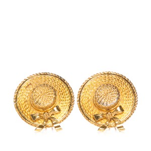 Chanel Chanel Gold-Tone Clip-On Hat Earrings