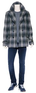 Burberry Mens Check Wool Pea Coat