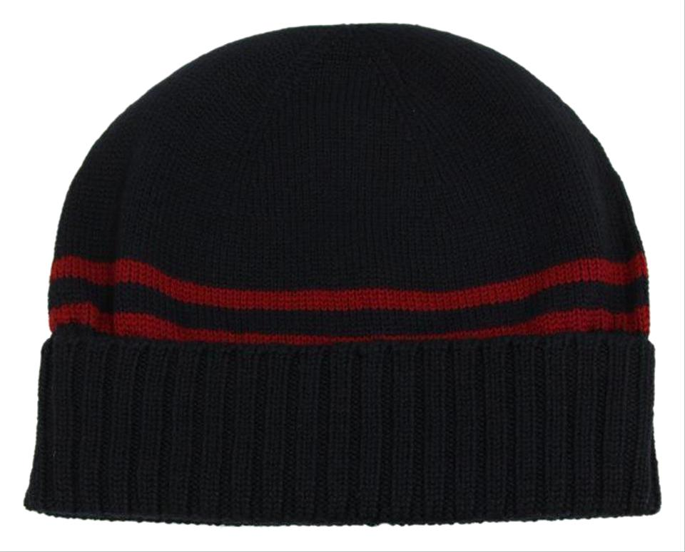 89cebb5cb Gucci Blue 294731 Men's Wool with Web Stripe Beanie Size M Hat 14% off  retail