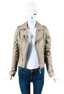 Balenciaga Taupe Distressed Lamb Leather Silver Tone Motorcycle Motorcycle Jacket