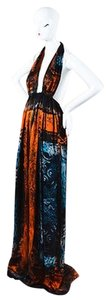 Multi-Color Maxi Dress by Balmain Blue Multicolor Silk