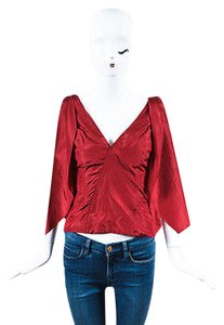 Other Rosie Assoulin Silk Double Sash V Neck Sleeveless 0 Top Red