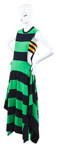 Stella McCartney Green Black Striped Asymmetric Sleeveless Dress