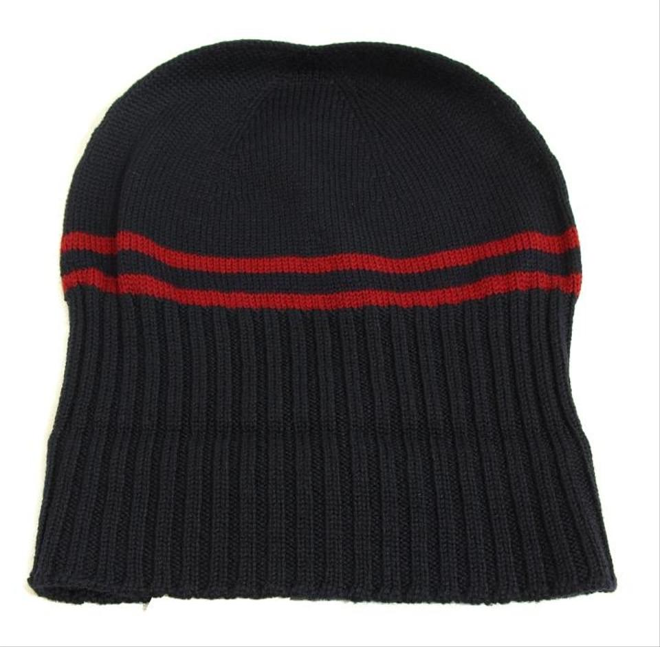 be2f1330 Gucci GUCCI 294731 Men's Wool with Web Stripe Beanie Hat, Black Size S  Image 7. 12345678. 1 ∕ 8