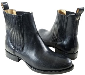 Frye Round Toe Soft Vintage Pull-on Dual Side Goring Made In Mexico Black Boots
