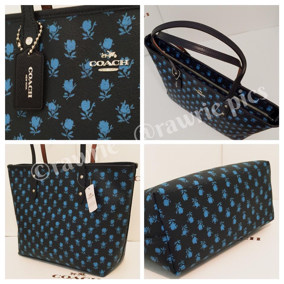10480bf7cc9b ... release date coach city midnight blue floral zip and wallet set black  leather tote tradesy daff3
