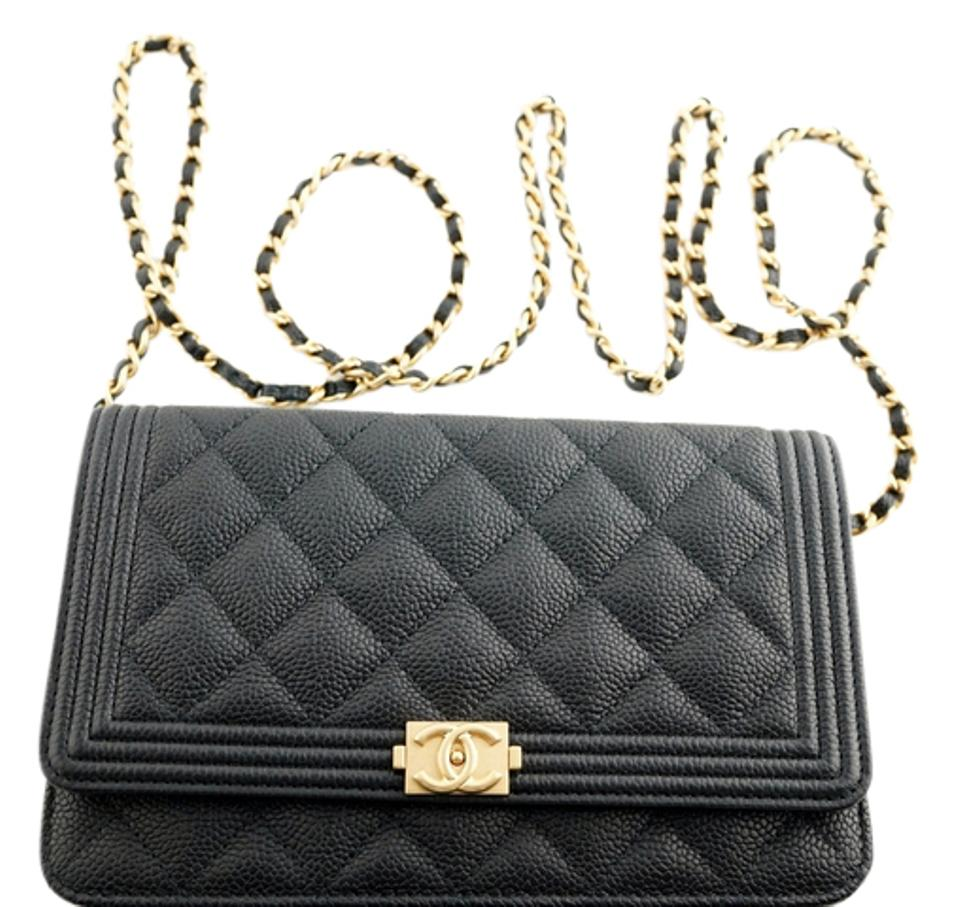 67068cedc088 Chanel Wallet on Chain Boy 17c Quilted Woc Black Caviar Leather ...