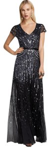 Adrianna Papell Beaded Ball Gown Gown Black Dress