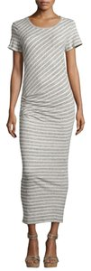 Heather Grey/ Natural Maxi Dress by James Perse Stripes Stretchy Short Sleeve Ruched
