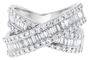Other 3.20 CT Natural Diamond Crossover Cocktail Ring in Solid 14k White Gol