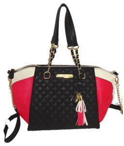 Betsey Johnson Black/Fuchsia Top Zip Closure Tote in BLACK /FUCHSIA
