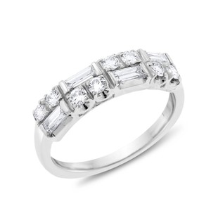 Other 0.59 CT Natural Diamond Round & Baguettes Wedding Band in Solid Platin