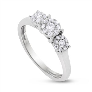 Other 0.50 CT Keepsake Natural Diamond Illusion Set Triple Floral Ring