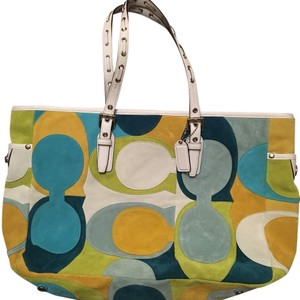 Coach Tote in yellow, blue, green, white