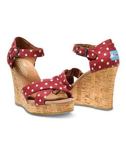 TOMS Polka Dot Dots Linen Red Wedges