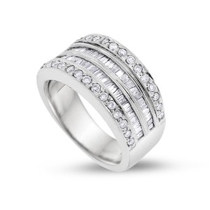 Other 1.05 CT Natural Round & Baguette Diamond Wide Band In Solid 14k White