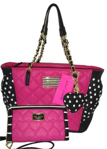 Betsey Johnson Top Zip Closure Oversized Wallet Tote in BLACK /FUCHSIA