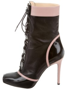 Christian Louboutin Square Toe Ankle Embellished So Kate Pigalle Black, Pink Boots