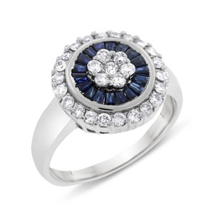 Other 1.75 Carat Natural Diamond & Sapphire Circle Floral Ring In Solid 14k