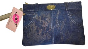 Betsey Johnson LUV BETSEY DENIM JEAN PANT DESIGN TOP ZIP WRISTLET