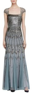 Adrianna Papell Beaded Platinum Cap Gown Dress