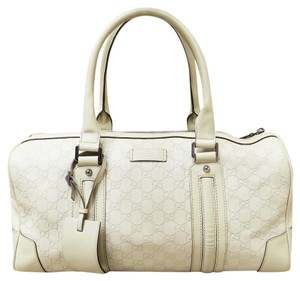 Gucci Gg Leather Tote in Beige