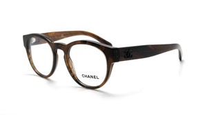 Chanel NEW Chanel 3346 Brown Round Frame Thick Logo Sunglasses