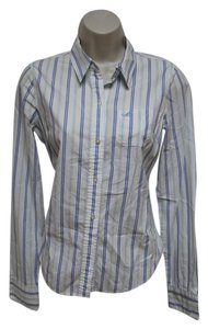 Hollister Striped Button Down Shirt Button Down Shirt Blue/White