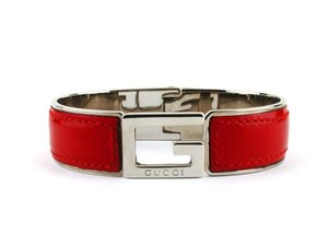 Gucci Authentic Gucci Vintage Leather & Silver-Tone G Clasp Bracelet