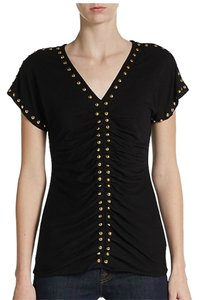 Carmen Marc Valvo Studded V-neck T Shirt Black