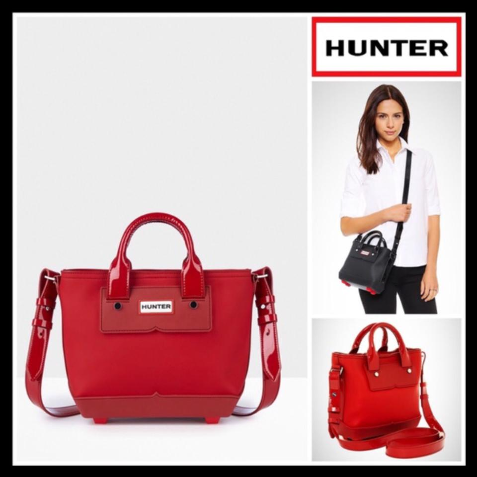 480eaa315f Hunter Mini Crossbody Red Leather Rubber Fabric Lining Tote - Tradesy
