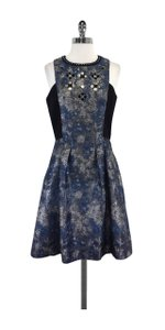 Laundry by Shelli Segal short dress Blue Black Silver Beaded on Tradesy