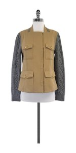 3.1 Phillip Lim Camel Grey Cable Knit Jacket