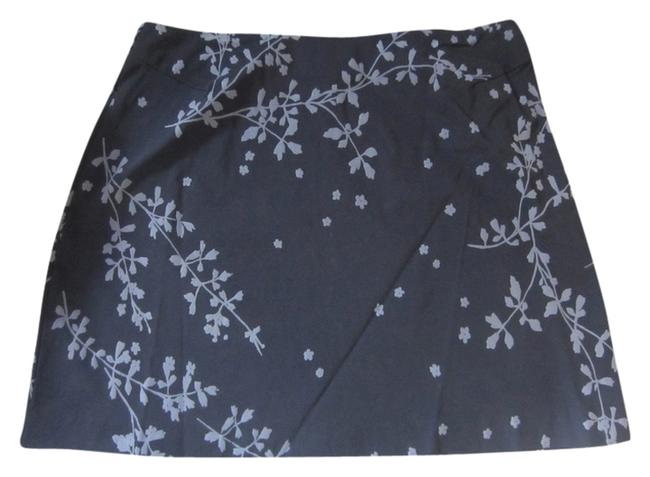 Express Print Flowers Skirt Black and grey