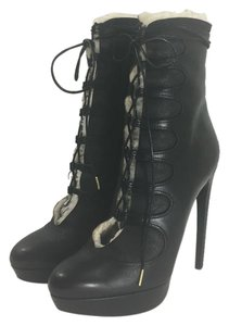 Alexander McQueen Lace Up Sherling Black Boots