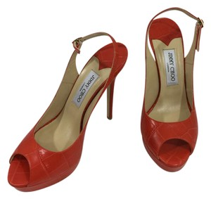Jimmy Choo Slingback High Heel Orange Platforms